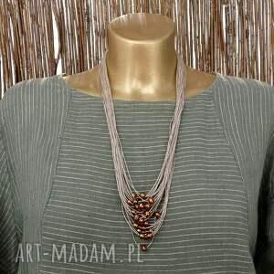 Brązowe perły komplet biżuterii lnianej - słodkowodne