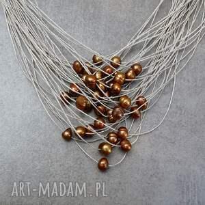 perełki brązowe perły komplet biżuterii
