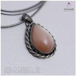ChileArt wisior srebrny brzoskwiniowy kamień księżycowy