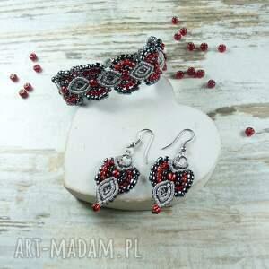 komplet komplety czerwone elegancki biżuterii