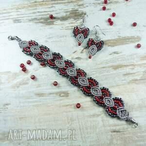 szare komplety makrama elegancki komplet biżuterii