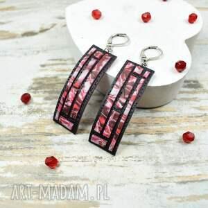nowoczesna-biżuteria komplety czerwone geometria - komplet biżuterii