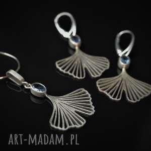 Jachyra Jewellery Ginkgo - Miłorzęby z akwamarynem - zestaw biżuterii srebrnej komplet