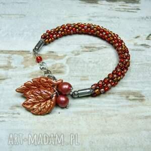Jesienne liście - komplet biżuterii - biżuteria na jesień