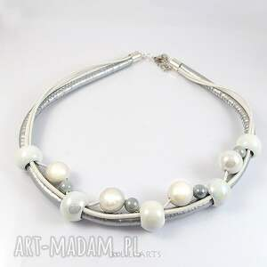 szare naszyjnik komplet - biało - srebrny