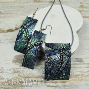 srebrne komplety kolczyki-ważki komplet biżuterii z ważką