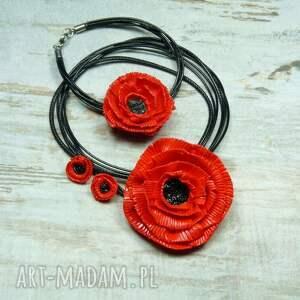lato komplety komplet biżuterii czerwone maki