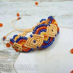 pomarańczowe komplety makrama komplet biżuterii z koralików