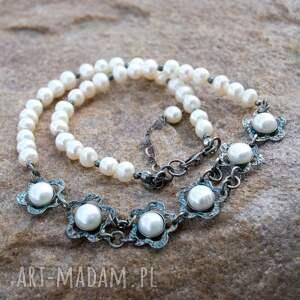 srebrny-z-perłami komplety komplet biżuterii srebrnej