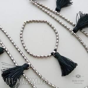 czarne komplety zestaw komplet boho z czarnymi chwościkami