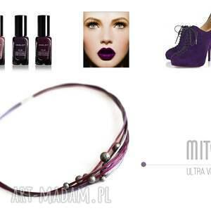 srebrne śliwkowe komplet ultra violet, złożony z kolii 45