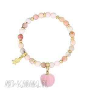 trendy komplety łańcuszek komplet z różowymi pomponami - i ♥