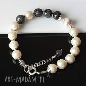 srebro komplety larvikit w perłach