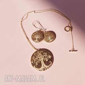 brązowe komplety drzewo miłosne drzewa - komplet biżuterii