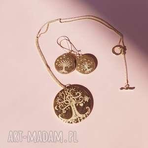 AksiniCoffeepainting Miłosne Drzewa - komplet biżuterii drewnianej - tolkien raj