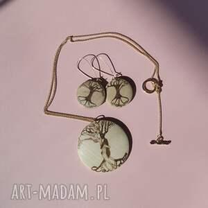 Miłosne Drzewa - komplet biżuterii drewnianej - tolkien retro