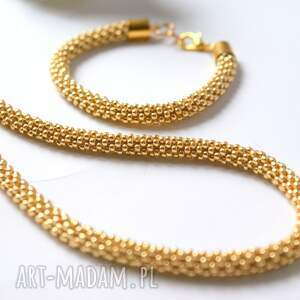 awangardowe komplety złoto naszyjnik i bransoletka koralikowa