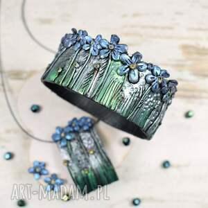 oryginalna biżuteria zielone niezapominajki - komplet