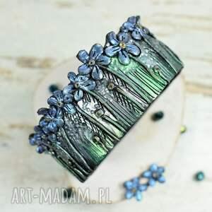 Niezapominajki - komplet biżuterii - polymer clay oryginalna biżuteria