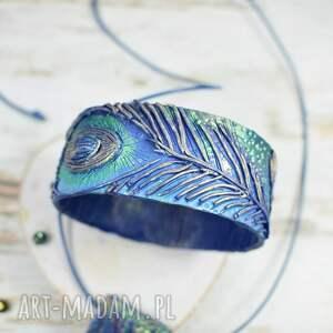 niebieskie pawie pióra - oryginalny komplet
