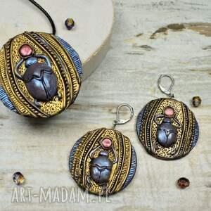 złote skabeusz - komplet biżuterii