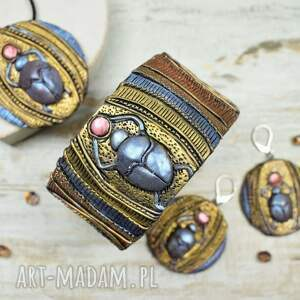niekonwencjonalne starożytnyegipt skabeusz - komplet biżuterii