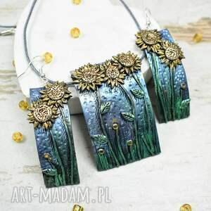 kolorowa biżuteria słoneczniki - komplet biżuterii