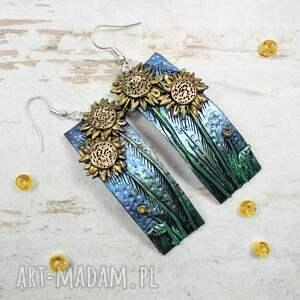 kolczyki słoneczniki srebrne - komplet biżuterii