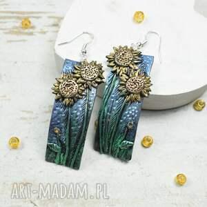 kolczyki słoneczniki - komplet biżuterii