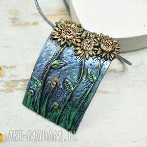 złote zawieszka słonecznik słoneczniki - komplet biżuterii