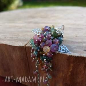 święta prezenty biżuteria komplet liść turmalin z liściem