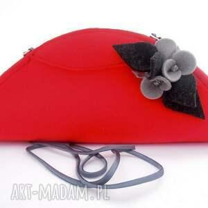 folk kopertówki czerwona mała torebka z szarymi