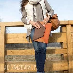 ręcznie robione elegancka kopertówka - beż i boki