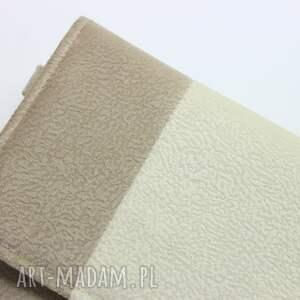 ręczne wykonanie elegancka kopertówka - beż i środek