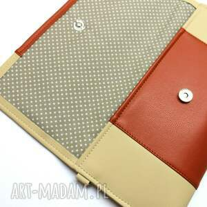 wyjątkowe kopertówki elegancka kopertówka - beż i środek rudy