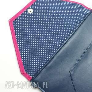 kopertówki elegancka kopertówka - granat i klapka fuksja
