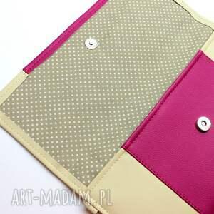 hand made elegancka kopertówka - jasny beż i środek