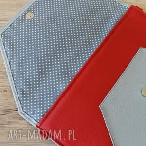 ręcznie robione kopertówki elegancka kopertówka - szara i boki czerwone