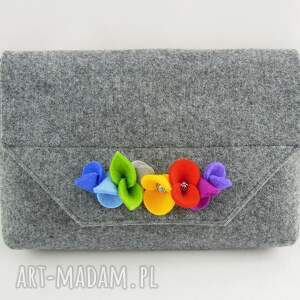 mała szara torebka kopertówka