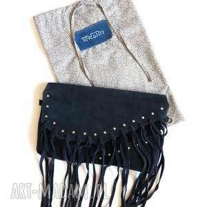 kopertówka torebka bransoletka ze skóry zamszowej
