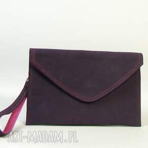 różowe skóra naturalna torebka skórzana kopertówka
