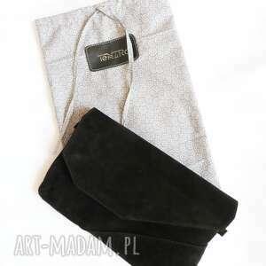 handmade kopertówka torebka zamszowa czarna