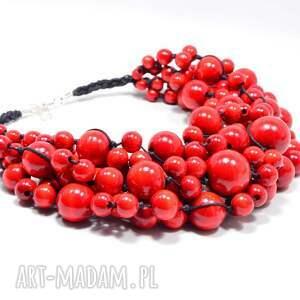 czarne korale czerwone, obfita kolia