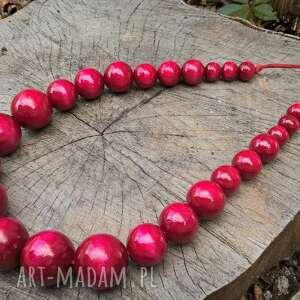 Pracownia INSPIRnet korale: drewniane wiśniowe na rzemyku - handmade