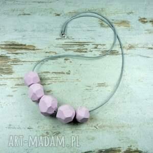 różowe korale geometryczne - różowo szare