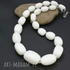 białe korale naszyjnik agat biały w stali