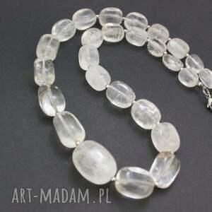 białe korale naszyjnik kryształ górski