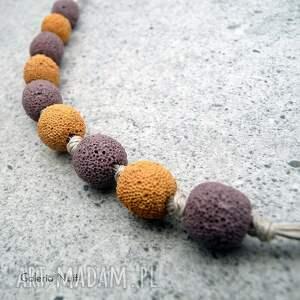żółte korale miodowy pudrowy fiolet ii - naszyjnik