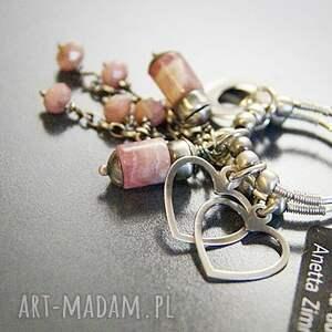 różowe korale kolczyki rodochrozyt srebro - pastelowy