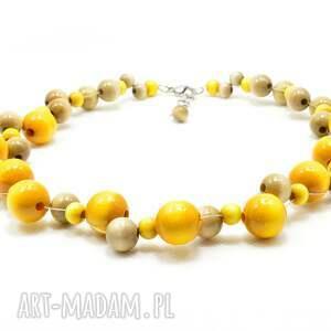 eleganckie korale drewniane żółte, szary